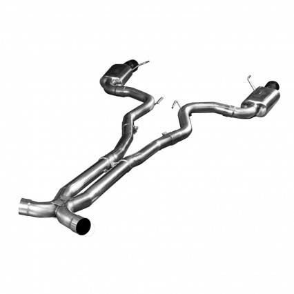 "3"" SS Connection-Back X-Pipe Exhaust w/Black Tips. 2015-2017 Mustang GT 5.0L."