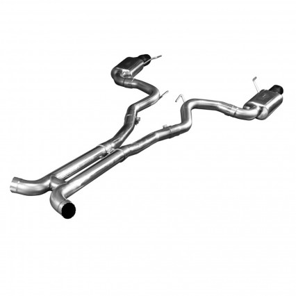 "3"" SS Connection-Back H-Pipe Exhaust w/Black Tips. 2015-2017 Mustang GT 5.0L."