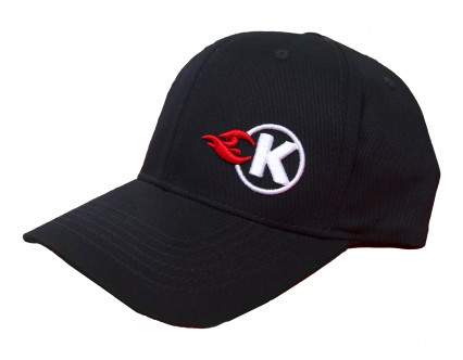 KOOKS BLACK FLEXFIT K-FLAME LOGO HAT - CURVED BRIM