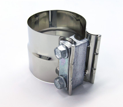 "3"" Stainless 2-Bolt Stepped Band Clamp for Non-Notched Slip Joint Connections."