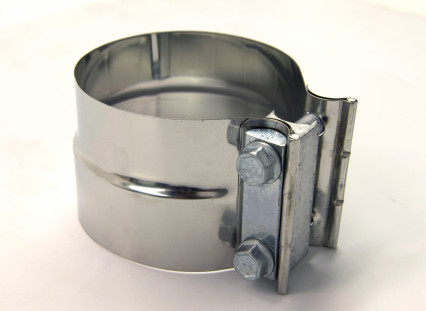 "4"" Stainless 2-Bolt Stepped Band Clamp for Non-Notched Slip Joint Connections."