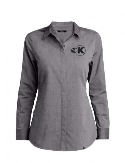 Women's Grey Button Down with K-Flame